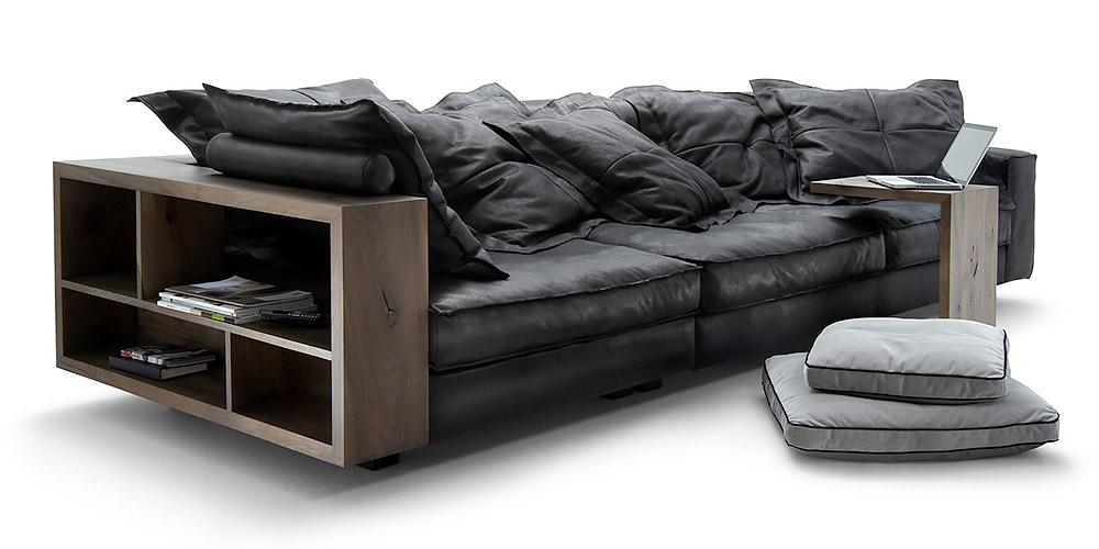 canap en cuir shwarz by. Black Bedroom Furniture Sets. Home Design Ideas